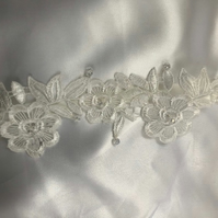 Fleur - Ivory Lace & Crystal Bridal Garter - Many Sizes Available -