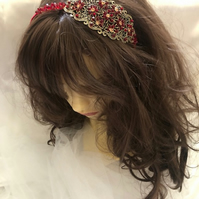 Ruby - Red Crystal Fascinator - Only One!