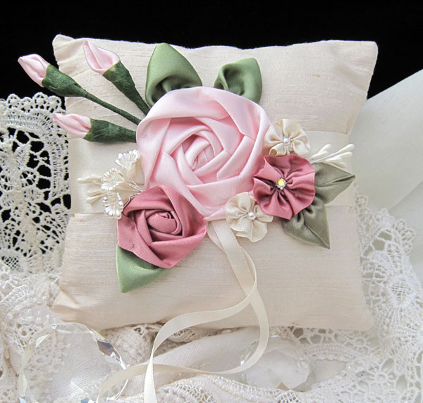 Beautiful RING BEARER PILLOW CUSHION - One of a kind Wedding Heirloom Keepsake
