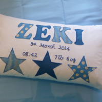 HANDMADE Personalised & Unique Name Cushion BOYS STAR Birthday Baptism New Baby