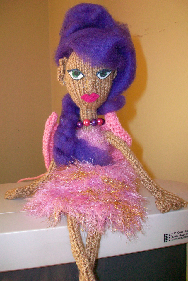 Fairy Winehouse knitted fairy doll