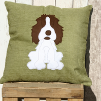 spaniel   - Reversible dog cushion with a tail
