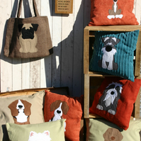 Personalised dog cushion with a tail - handstitched from your own photos