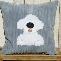 Bichon Frise  - Reversible dog cushion with a tail
