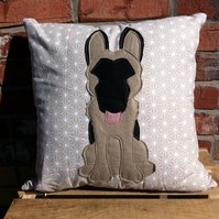 German shepherd dog   - Reversible dog cushion with a tail