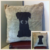 Brown chocolate Labrador  - Reversible dog cushion with a tail