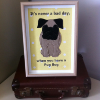 Pug- fabric stitched picture in a frame