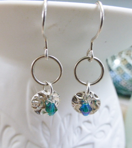 fine silver rose drop ear rings