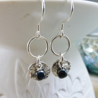 fine silver rose ear rings with heamatite beads