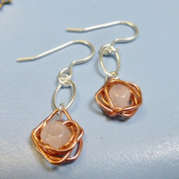 Copper and silver nest earring with rose quartz