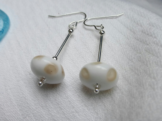 Spotted silver long earrings- beige spots