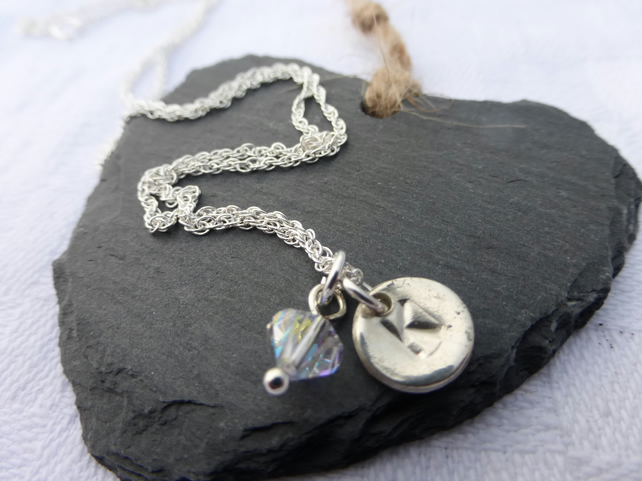 Personalised silver necklace with Swarovski crystal.