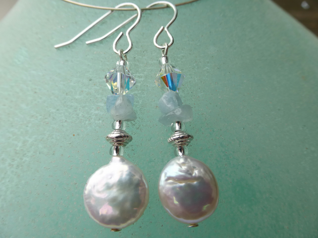 Fresh water pearl and aqua marine silver earrings
