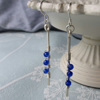 Long hammered silver earrings- royal blue