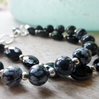 Snow obsidian and onyx bracelet