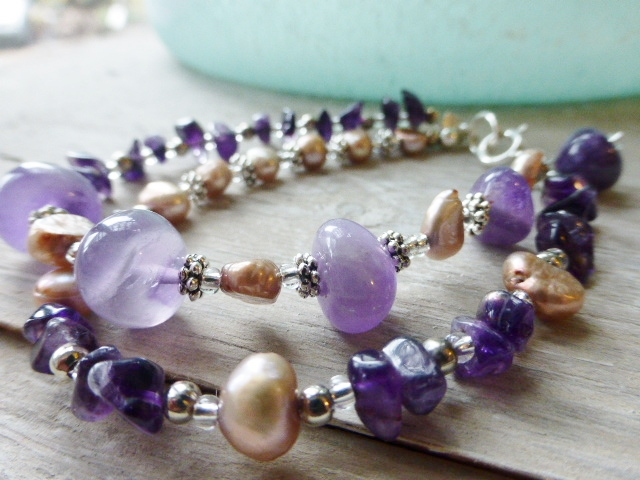 amethyst and pearl  bracelet- sterling silver