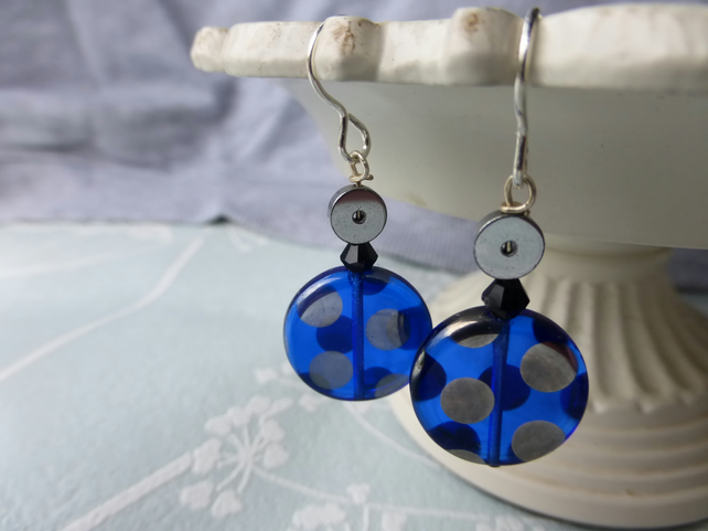 Blue spotted earrings