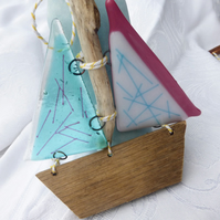 Fused glass and driftwood sail boat decoration-aqua and pink