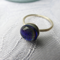 Sterling silver ring with fused glass