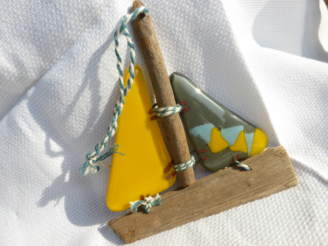 Fused glass and driftwood glass sail boat - yellow and grey