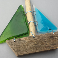 Nautical driftwood and glass sail boat