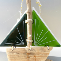 Green fused glass and drift wood sail boat