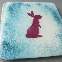 Hare fused glass coasters- set of 2