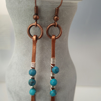 copper and turquoise hammered earrings