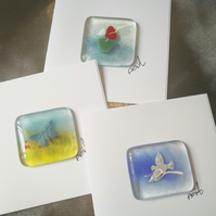 Set of 3 fused glass greetings cards-set 2