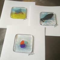 3 fused glass greetings cards-set 3
