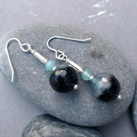 Blue and teal agate earrings on silver