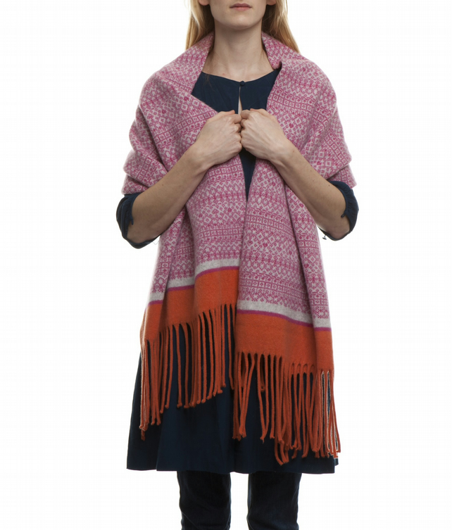 Large Fair Isle Scarf Wrap with Tassels Pink, Grey, Orange