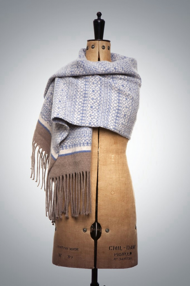 Large Wrap Scarf Fair Isle Pattern with Tassels Blue, Linen, Mushroom