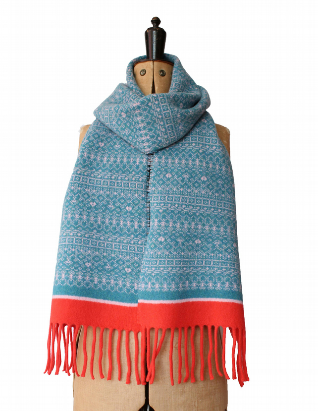 Warm winter scarf, Knitted Fair Isle Tassel Scarf, Soft Wool, turquoise, coral