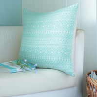 Knitted Fair Isle Cushion, Mint Green and Linen