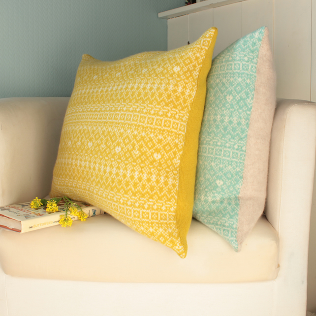 Knitted Fair Isle Cushion, Yellow and Linen
