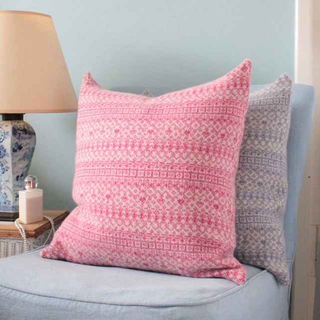 Knitted Fair Isle Cushion, Pink and Linen