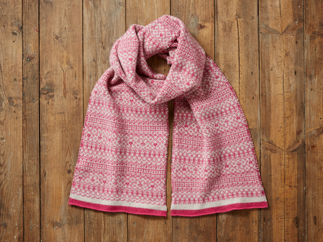 Fair Isle Scarf, Soft and Cozy Lambs wool scarf, pink & linen, gift for women