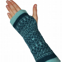 Cozy wool mittens, fingerless mittens, Fair Isle mittens, Diesel, teal, blue