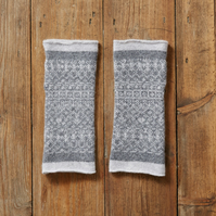 Cozy wool mittens, fingerless mittens, Fair Isle mittens, Grey
