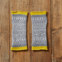 Cosy wool mittens, fingerless mittens, Fair Isle mittens, Grey, yellow