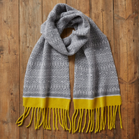 Cozy scarf, Knitted Fair Isle Tassel Scarf, Soft Wool, soft grey, greys, yellow