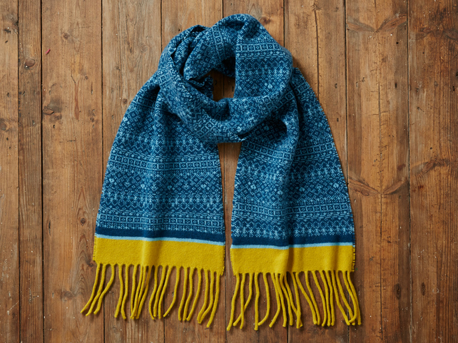 Warm winter scarf, Knitted Fair Isle Tassel Scarf, Soft Wool, deep blue, yellow
