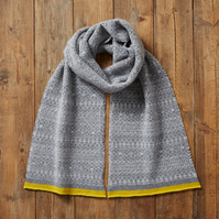 Fair Isle Scarf, Soft and Cozy Lambs wool scarf, soft grey mix & yellow