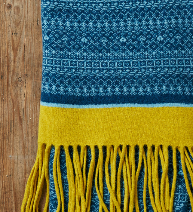 Large Fair Isle Scarf Wrap with Tassels, Diesel, Teal, Mustard Yellow