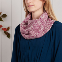 Cozy Knitted Snood, Infinity Scarf, Lambswool, Fair Isle, Purple linen cream