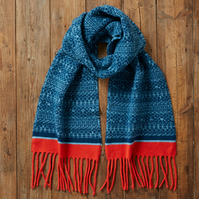 Warm winter scarf, Knitted Fair Isle Tassel Scarf, Soft Wool, deep blue, coral