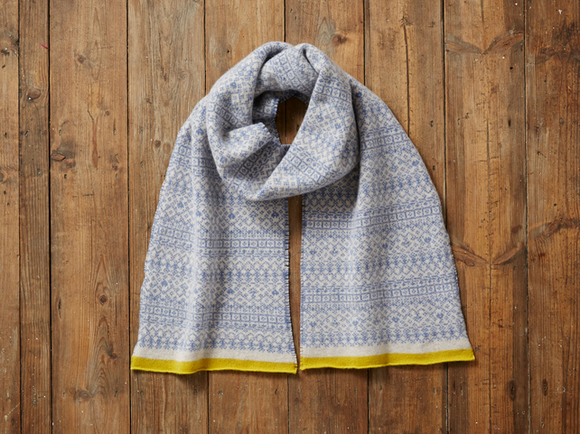 Fair Isle Scarf, Soft and Cozy Lambs wool scarf, soft blue, linen & yellow