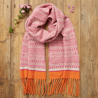 Cozy scarf, Knitted Fair Isle Tassel Scarf, Soft Wool, linen, pink, orange