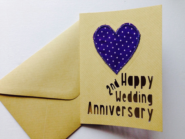 Personalised anniversary card cotton